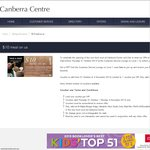 "$10 Meal Voucher by Presenting ""Canberra Center"" VIP Card before 30th October 2013"