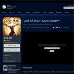 God of War Ascension Digital Version $10 USD for US PS+ Member, $19.99 for Normal PSN User