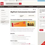 5 FREE Concession Postage Stamps upon Registration for a Mypost Card (Concession Card Required)