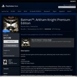 Batman: Arkham Knight (PS4) US $9.99 or Premium Edition US $17.99 @US PlayStation Store