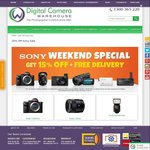 15% off Most Sony @ Digital Camera Warehouse + Free Shipping. Eg. A6000 Body $628 (Save $111), A7RII $3461 (Save $611)