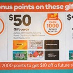 1000/2000 Points (Worth $5/ $10) with $50/ $100 Jetstar, Dymocks, Country Rd, City Beach, Redballoon Gift Cards @Woolworths 30/8