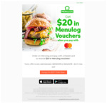 Order on Menulog and Pay with a Mastercard to Receive $20 in Menulog Vouchers (2x $10)