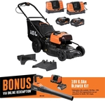 "AEG 2 x 18V (36V) 6.0Ah 18"" FUSION Lawn Mower Kit $749 with Free Bonus Blower (Worth $299) via Redemption @ Bunnings"