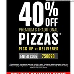 Domino's 40% off Traditional/Premium Pizzas (Pick up or Delivered, Today Only)
