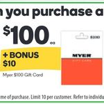 10% Bonus on Myer Gift Cards @ Woolworths