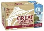 Great Northern Super Crisp Lager Cases (24 x 330ML Bottles) for $12 (Maximum of 4 Per Order) @ Coles