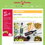 Win a Year's Supply (72 Bottles) of McGuigan's Black Label Wine from Thirsty Camel [WA]
