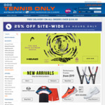 25% off Sitewide (Exclusion Applies) @ Tennis Only