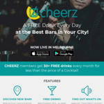 [VIC] Free First Drink (At Selected Bars / Venues) via Cheerz App (New Sign-Ups)