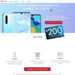 $200 eGift Card with Huawei P30/P30 Pro at Selected Retailers