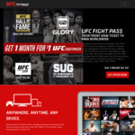 UFC Fight Pass 1 Month for $1 (New Accounts) @ UFC