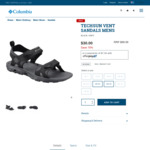 70% off Columbia Mens Techsun Vent Sandals (Black/Grey, Size 12 & 13 US)  $30 + Shipping @ Columbia Sportswear
