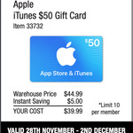 $50 iTunes Gift Cards for $39.99 @ Costco (Membership Required)