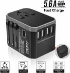 [Lightning Deal] Universal Travel Adapter w/ 4x USB A, 1 USB C $18.39+ Post ($0 w/ Prime/ $39 Spend) @Smile&Satisfaction Amazon