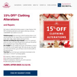 15% Off all Clothing Alterations and Repairs @ Look Smart Alterations
