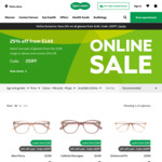 25% off $149 Spend on Glasses @ Specsavers (Online Only)