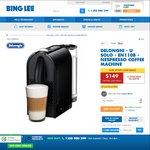 Nespresso DeLonghi U Solo $109 (after $40 Cashback) @ Bing Lee