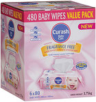 Curash Baby Wipes Fragrance Free Value Pack - 6x80pk $11.99 ($2 per 80pk) @ Chemist Warehouse