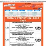 Jakarta Return from Sydney $675, Melbourne $655, Brisbane $679, Adelaide $665 | Bali fr Syd $680, Mel $660 via Singapore Air