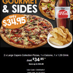 2x Large Pizzas 1x Calzone and 1x 1.25l Drink for $34.95 at Pizza Capers