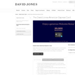 David Jones American Express $99 Annual Fee 20,000 Membership Rewards Points