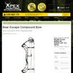 Bear Escape Compound Bow $899.95 + Free Shipping (Was $1,199.95) @ Apex Hunting