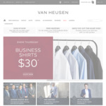Van Heusen Business Shirts $30, Business Trousers $45, Free Shipping over $100