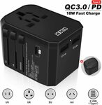Universal Travel Adapter Type C QC3.0 PD $17.50 (Was $24.99) + Delivery ($0 Prime/ $39 Spend) @ Smile&Satisfaction Amazon AU