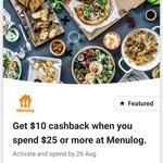 CommBank Rewards: $10 Cashback with $25 Minimum Spend @ Menulog
