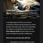 [VIC] Free Sanitisation Kit for Rideshare Drivers (Metro Areas) - Ola