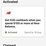 CommBank Rewards - Get $30 Cashback on $100 Spend @ New Balance