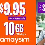 Four Renewals of amaysim 10GB/28 Days Mobile Plan $6.97 (+15% Cashback via Cashrewards) @ Groupon