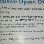 Dyson Online 25% off - V6 Absolute ($674), DC54 Animal Pro ($824), AM09 Hot+Cold & Humidifier ($524) Only
