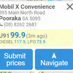 99.9c 91 Unleaded Fuel at Mobil X Convenience Pooraka (SA)