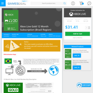 Xbox Live Gold 12 Month Membership (VPN Required) - US$31 41