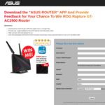 Win an ASUS ROG Rapture GT-AC2900 Router Worth $400 Plus Free MousePad for First 300 Entries from ASUS