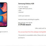 Telstra Samsung Galaxy A20 $179 @ Coles