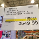 "[VIC] Sony 75"" X85G LED 4K HDR Smart TV KD75X8500G $2549.99 (RRP $3399.99) @ Costco Epping (Membership Required)"