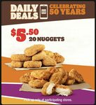Daily Deals: 20 Nuggets $5.50 @ Hungry Jack's via App