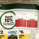 10% Bonus When Purchasing a Myer Gift Card @ Woolworths