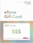 Physical EFTPOS Card $30-$200 No Credit Card Processing Fee Applies @ The Card Network (Free post / Free Express over $200)