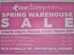 One Teaspoon Spring Warehouse Sale - 7 Sep-9 Sep - Brookvale, Sydney - Prices Start from $10