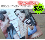 TWO Personalized Photo 80pcs Puzzles + FREE Matching Photo Pendants Only $25 Delivered