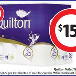 36x Quilton Toilet Paper Rolls $15 at Coles ($0.41 Each)