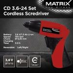 Matrix 3.6V Lithium Li-Ion Cordless Screwdriver Kit 24pc Drill Power Tools $19.90 + Free Shipping @ Outbax Camping on eBay