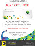 Buy 1 Get 1 Free on CooperVision MyDay 30 Pack Daily Disposables (= $23/Box) @ Eyecare Concepts, Kew East (Melbourne)