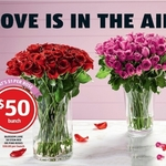 50 Stemmed Roses Red or Pink $50 @ ALDI
