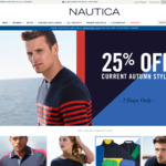 Nautica Mid Season Sale 25% off + Online Outlet up to 60% off