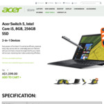 25% off Acer Switch 5 Premium 2-in-1 for $1,199.25 (Was $1,599) + Free Shipping @ Acer Store Australia